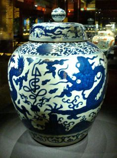 Jingdezhen's pottery kilns have been burning for over 1,500 years: Blue and white covered jar with cloud and dragon, Jianjing period of the Ming Dynasty, 1522-1568; curated at the Palace Museum, Beijing.