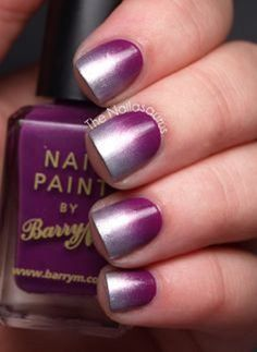 Purple and silver Ombre nail art design. A great looking nail art design for short nails that's simple yet elegant at the same time.