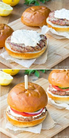 Greek Turkey Burgers with Whipped Feta - one reader called this the best turkey burger she'd ever eaten! sweetpeasandsaffron.com