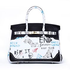 We are not Hermes, designer Birkin bags, graffiti, real leather.