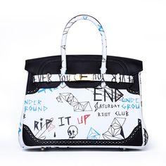We Are Not Hermes Designer Birkin Bags Graffiti Real Leather