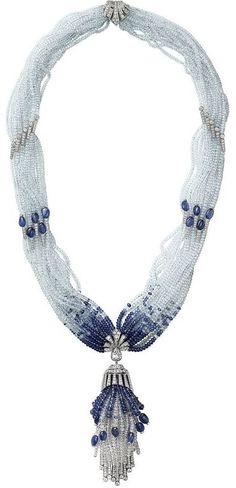 Cartier diamond and sapphire bead necklace, love the movement! Stunning~