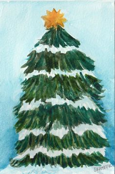 Snow Covered Christmas Tree Painting 4 X 6 Original Watercolor Holiday Home