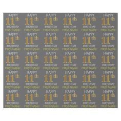 """Shop Gray, Faux Gold """"HAPPY BIRTHDAY"""" Wrapping Paper created by AponxDesigns. Elegant Birthday Party, Gold Birthday Party, Birthday Name, Happy 11th Birthday, Custom Wrapping Paper, Present Gift, Paper Gifts, Getting Old, Wraps"""