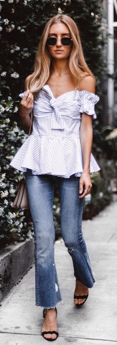 Striped Off The Shoulder Peplum Top Black Sandals