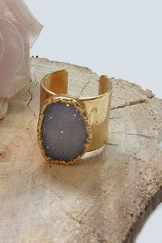24k Gold Plated Druzy Cuff Ring