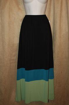 Womans Size S,M,L Green/Peacok Full Skirt 3 Tone Elastic Waist by Jubulani NEW | eBay