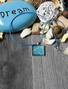 Metallic Blue Hand-painted Pendant Necklace - Square Pendant Necklace - Ocean Necklace - Beach Jewelry - Wearable Modern Art - OOAK Jewelry by KayBejeweled on Etsy