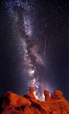 Milky Way over desert.