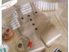 Modèle tricot layette : salopette bébé et pull En bateau