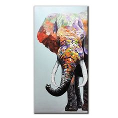 living room wall painting ideas - V-inspire Inch Colourful Elephant Oil Painting Canvas Wall Art Wall Decorations Paintings for Living Room, Bedroom, Kitchen, Office Etc living room wall decor over couch Find out more at the image link. Pop Art, Elephant Background, Colorful Elephant, Hand Painted Walls, Canvas Wall Decor, Online Painting, Animal Paintings, Oil Paintings, Oil Painting On Canvas