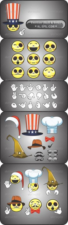 Emoticon Skull Set   #GraphicRiver         File Included: Ai, EPS, CDR     Created: 19March13 GraphicsFilesIncluded: VectorEPS #AIIllustrator Layered: Yes MinimumAdobeCSVersion: CS Tags: america #avatar #cartoon #chef #cowboy #emoticons #enchanter #expression #eyeglasses #face #glosy #hat #icon #mustache #orange #santaclaus #skull #tie #yellow