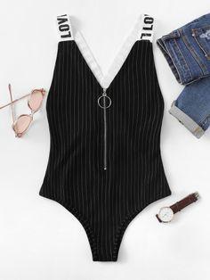 Zipper Up Striped Bodysuit With Letter Strap -SheIn(Sheinside)