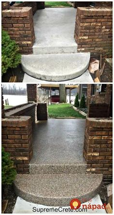 repair concrete sidewalk This week at Indian Lake, Ohio we had a customer that wanted to refresh the look of their concrete front porch. After proper concrete preparation, we applied the 2 coats of our PermaFlex product. Concrete Front Steps, Diy Concrete Patio, Patio Diy, Concrete Patio Designs, Patio Steps, Backyard Patio, Backyard Landscaping, Backyard Ideas, Painting Concrete Porch