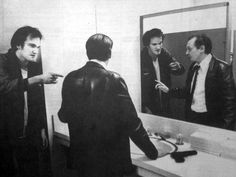 Quentin Tarantino and Steve Buscemi rehearsing a scene for Reservoir Dogs.