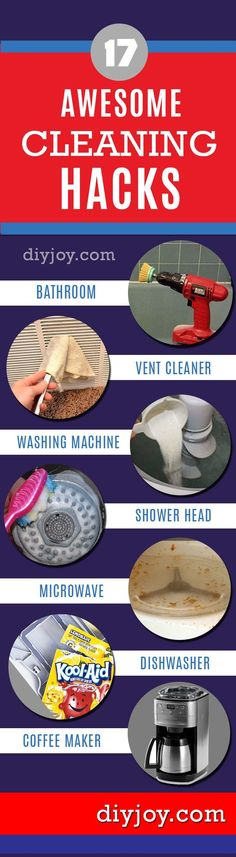 DIY Hacks - Easy Cleaning Hacks  Easy DIY Cleaning Tips for Home, Bathroom, Living Room and Kitchen. Carpets, Sofas, Furniture, Floors, Tile and More http://diyjoy.com/cleaning-tips-life-hacks