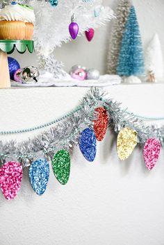 Love this homemade glittery Christmas light garland.