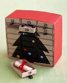 This Advent calendar starts as a miniature chest of 24 drawers. As its drawers are removed and reversed, a picture is revealed.