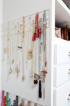 brighton keller new home closet reveal jewelry organization :: neat method Dorm Room Closet, Master Bedroom Closet, Closet Space, College Closet, Dorm Rooms, Walk In Closet Design, Closet Designs, Necklace Storage, Jewellery Storage