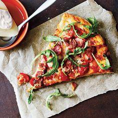 Cooking Light Bacon, Tomato, and Arugula Pizza