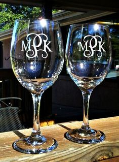 These etched monogrammed wine glasses make the perfect wedding, anniversary, or birthday gift.