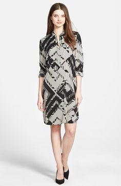 Halogen®+Belted+Split+Neck+Crepe+Shift+Dress+(Regular+&+Petite)+available+at+#Nordstrom
