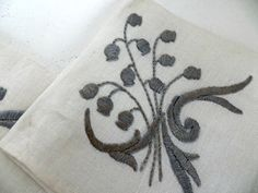Vintage Napkins Silver Satin Stitch on Linen Three (3) by FabulousFunFashion on Etsy