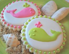 Preppy Pink & Green Whales Decorated Sugar Cookies (12) via Etsy