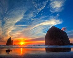 Cannon Beach Sunset. I was here with Claire, Daniel and Alana - 10/16/2011