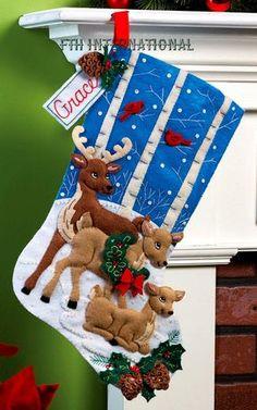 Deer Family Bucilla 18 Felt Christmas por FTHInternational en Etsy