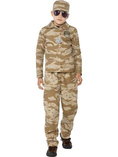 You can buy desert army costume for your kids from the Halloween Spot. It is a camouflaged desert army costume with Hat, Top & Trousers made of polyester. Army Costume, Costume Shop, Costume Dress, Army Girl Fancy Dress, Fancy Dress For Kids, Marvel Dc, School Costume, Army Camouflage, Halloween Costume Accessories
