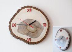 Walnut clock and leather