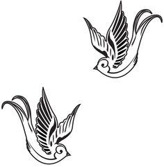 Tattoo style Swallow Birds Vinyl Wall Art Decal Sticker. $14.99, via Etsy.