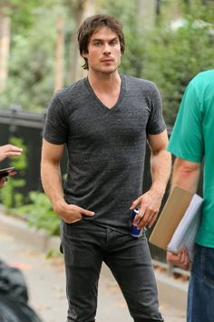 "Ian Somerhalder films ""The Climate Reality Project"" in Washington Square Park in New York (August 22, 2014)"
