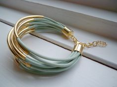 Light Green Leather Cuff Bracelet with Gold Tube Beads
