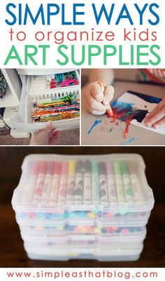 Simple and inexpensive ways to organize kids art supplies. Art is a great kids activity but it& also a little messy! Simple and inexpensive ways to organize kids art supplies. Art is a great kids activity but its also a little messy! Organisation Hacks, Craft Organization, Classroom Organization, Closet Organization, Cleaning Supply Organization, Art For Kids, Crafts For Kids, Craft Kids, Kids Craft Storage