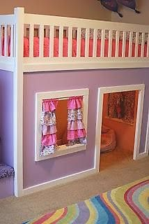 cool idea for Abi's bed- loft bed play house underneath- Do It Yourself Home Projects from Ana White Inside Playhouse, Playhouse Loft Bed, Childrens Playhouse, Playhouse Plans, Girls Playhouse, Indoor Playhouse, Loft Bed Stairs, Toddler Rooms, Kids Rooms