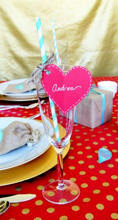 Easy Valetine's Day party ideas!  Champagne flutes from our local thrift shop!