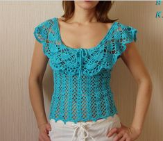 TRICO y CROCHET-madona-mía: Modelo de blusas en crochet para expertat
