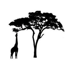GIRAFFE and ACACIA TREE Silhouette Um African rubber stamp No.17. $3.50, via Etsy.