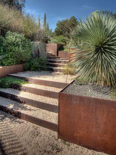 garden landscape stairs retaining wall design ideas~I love the steel