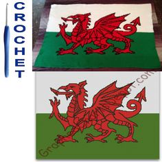 Welsh Dragon Flag Crochet Pattern Graph Afghan Cross