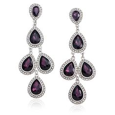 Silvertone Purple Acrylic with Clear Crystal Chandelier Dangle Earrings, http://www.amazon.com/dp/B00DD5W37M/ref=cm_sw_r_pi_awdm_fuYsub0G6MEM6