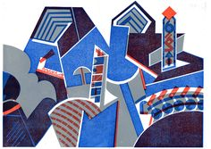 PEAKS A three colour linocut by Bernard Lodge