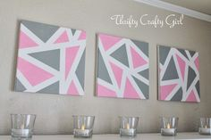 #DIY Wall Art | Geometric Art Prints from @Christy Polek Palmer Crafty Girl | Supplies available at Joann.com | #craftmonthlove