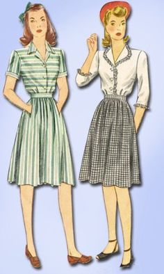 1940s Original Charming WWII Dress Pattern Sz 30 B | eBay
