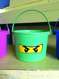 Ninjago Themed Children's Party Favor Buckets/ Treat Bag with Your Choice of Logo, Style 3