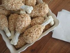 Turkey Leg Rice Krispie Treats. Such a cute idea (scooby-doo graham crackers dipped in white choc)