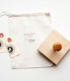 I like the idea of using a business card stamp for rustic promotional items. Also like the use of kraft tags!