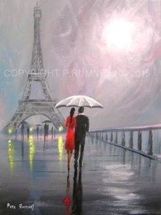 PETE-RUMNEY-FINE-ART-MODERN-ACRYLIC-OIL-PAINTING-ORIGINAL-ESCAPE-TO-PARIS-LOVE